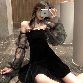 2020春夏新款气质网纱泡泡袖黑色裙子露肩丝绒收腰蓬蓬连衣裙女装