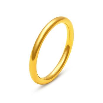 阿梵尼  足金黄金光圈戒指  简约素光圈 女戒