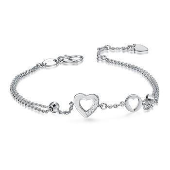 阿梵尼  pt950铂金心形手链女士 luck白金手链可调节 双层