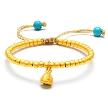 今上珠宝  黄金手链女士 古法转运珠圆珠黄金手串 莲花手链