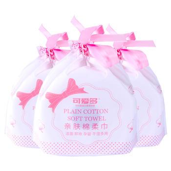 可爱多 洁面卸妆清洁珍珠纹多用洗脸巾亲肤棉柔巾50段*3袋