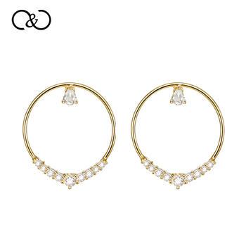 C&C 大S联名系列镀18K金耳环个性气质两戴耳钉简约椭圆形圆圈耳坠