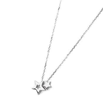 C&C 双子星吊坠锁骨链星星项链女短款百搭配饰颈链个性饰品