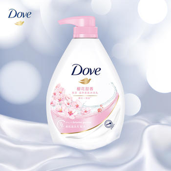 多芬 樱花甜香滋养美肤沐浴乳1000g 0皂基 清爽易冲洗 保湿修护