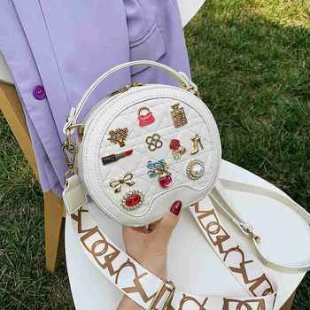 INME徽章小圆饼包包女甜美可爱百搭单肩包质感时尚斜挎手提包女包