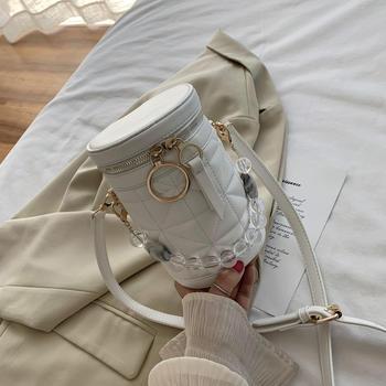 INME潮范时尚流行韩版百搭ins斜挎包网红女包单肩手提菱格水桶包