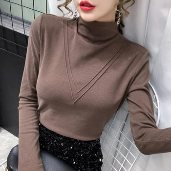 曼琳思菲 新款加厚半高领打底衫女上衣长袖t恤秋冬女装