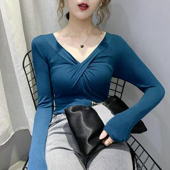 曼琳思菲 上衣女2020春秋款韩版修身显瘦扭结v领性感镂空T