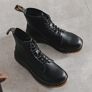 猩猩猴秋冬新款真皮厚底情侣款黑色马丁靴男女潮ins酷英伦风厚底短