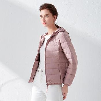 90%白鸭绒无缝薄款羽绒服轻便连帽户外运动大码外套 赠同色收纳袋